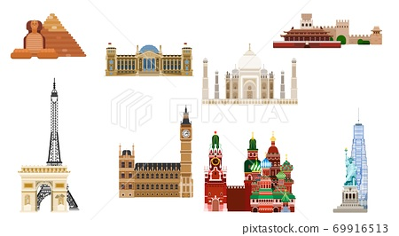 bright sights of the world. flat style buildings 69916513