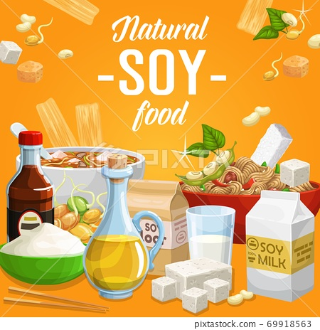 Soy products, soybean organic food vector poster 69918563