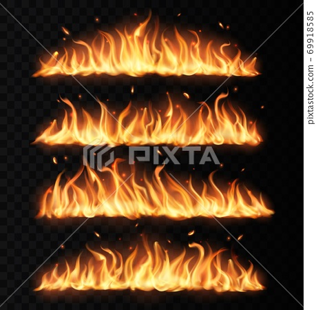 Fire tongues, long burning realistic vector flame 69918585