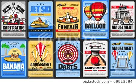 Amusement park posters, funfair rides, carousels 69918594