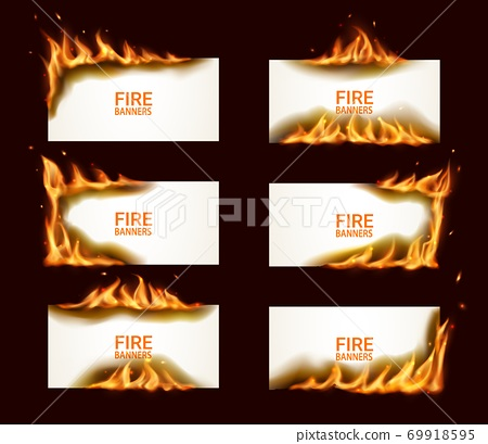 Fire banners burning paper vector horizontal pages 69918595