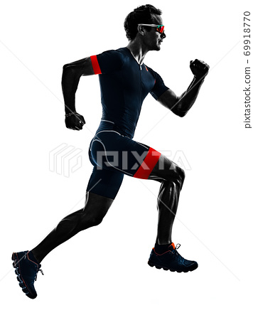 triathlete triathlon runner running silhouette isolated white background 69918770