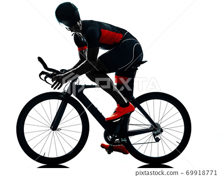 triathlete triathlon Cyclist cycling silhouette isolated white background 69918771