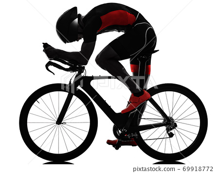 triathlete triathlon Cyclist cycling silhouette isolated white background 69918772