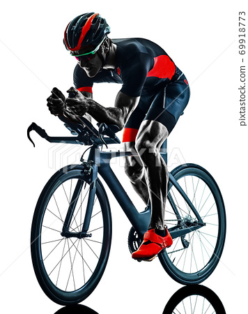 triathlete triathlon Cyclist cycling silhouette isolated white background 69918773
