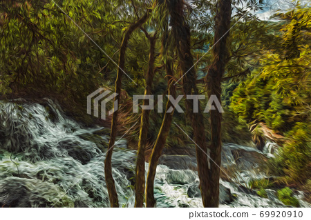 Waterfall falling over rocks in a lush forest 69920910