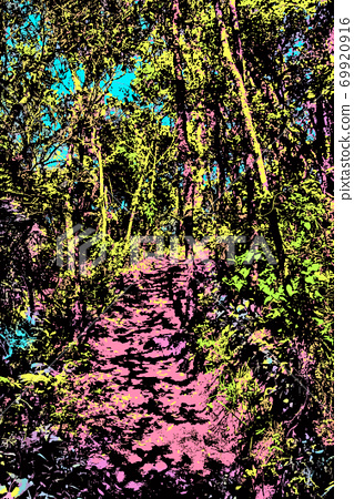 Illustration of dirt trail through a forest 69920916