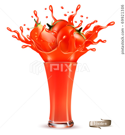 Red tomato juice splash. Whole and sliced tomato in a red juice with splashes and drops isolated on transparent background. 3D. Vector illustration. 69921386