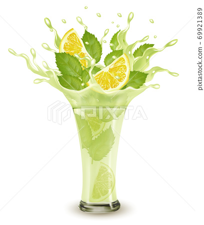 Fresh fruit drink splash. Whole and sliced limon and green mint  in a fresh juice or cocktail with splashes and drops isolated on transparent background. 3D. Vector. 69921389