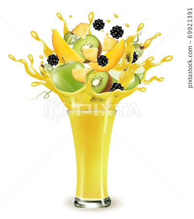 Yellow fruit juice splash. Whole and sliced apple, mango, kiwi and blackberry  in a sweet yellow juice or cocktail with splashes and drops isolated on transparent background. 3D. Vector. 69921391