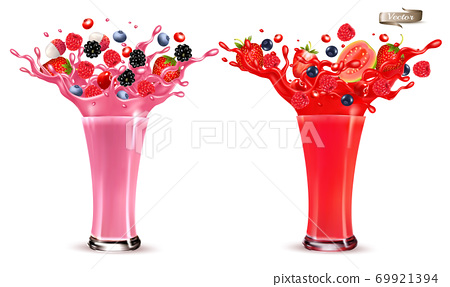 Sweet berry juice splash. Whole and sliced strawberry, raspberry, cherry blueberry, blackberry and guava in juice or cocktail with splashes and drops isolated on transparent background. 3D. Vector. 69921394
