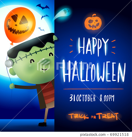 Little Green Monster with big signboard. Happy Halloween calligraphy lettering design. Creative typography for holiday season greeting. 69921518