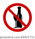 vector illustration of prohibits  alcohol drink sign on white background. 69922731