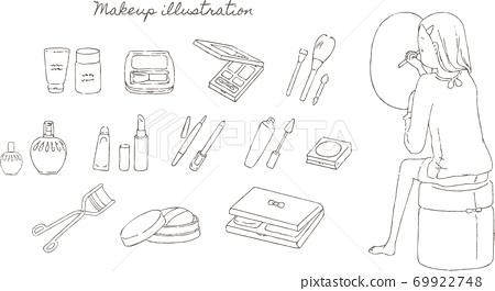 Line art illustration set of women to make up and makeup tools 69922748