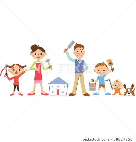 與家人一起進行房屋改建 69927256