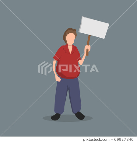 Man with a poster in his hands. Political Event. Protest. Isolated image of a man with banner. Cartoon character 69927840
