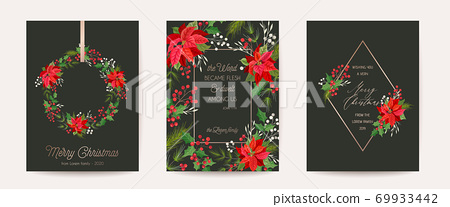 Set of Elegant Merry Christmas, Vector New Year 2021 Cards with Poinsettia Flower, Holly Berry, Mistletoe 69933442