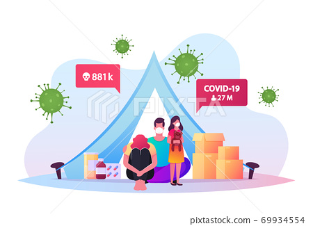 Quarantine Self Isolation. Mother, Father and Daughter in Medical Masks Sit in Tent with Medical Pills during Covid19 69934554