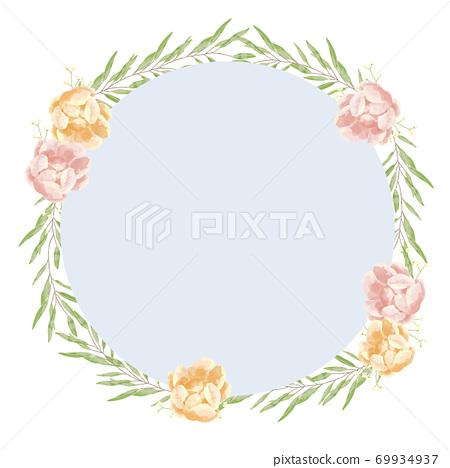 玫瑰花,勿忘我和桉樹的框架,帶有柔和的觸感 69934937