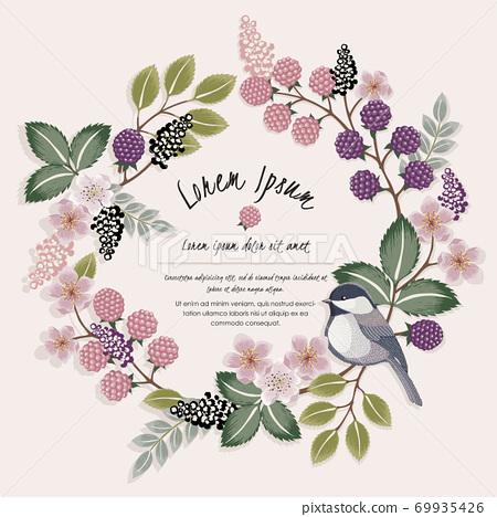 Vector illustration of a floral frame with a cute bird on a floral branch in spring for Wedding, anniversary, birthday and party. Design for banner, poster, card, invitation and scrapbook  69935426