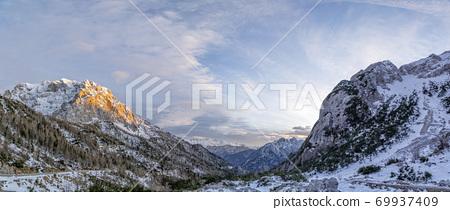 julian alps mountains at sunset winter landscape 69937409