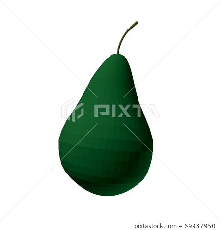 Polygonal green pear isolated on white background. 3D. Vector illustration 69937950