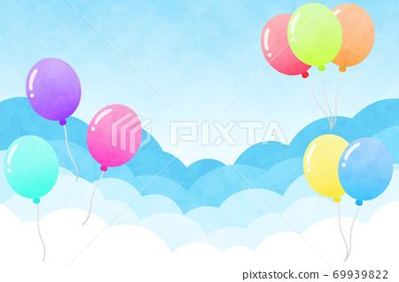 구름 배경 사각형 풍선 수채화 풍 69939822