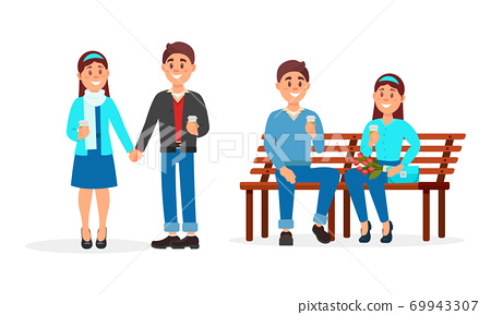 Young Man and Woman Holding Hands and Sitting on Bench Vector Illustration Set 69943307