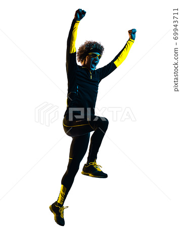 youg runner jogger running jogging man silhouette isolated white background 69943711