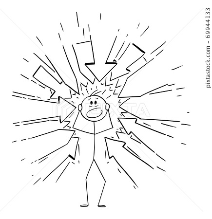 Vector Cartoon Illustration of Stressed Man With Many Arrows Pointing at Him Representing Some Requests or Blaming 69944133