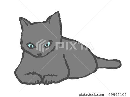 看着你的猫的手绘插图(白色背景) 69945105