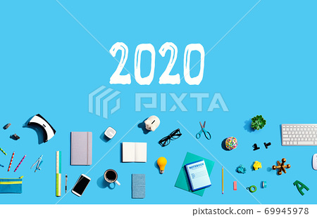 2020 new year concept with electronic gadgets and office supplies 69945978