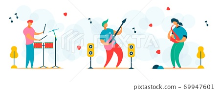 Cartoon flat characters set for music festival concept 69947601