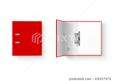 Vector 3d Closed and Opened Realistic Red Blank Office Binder Set with Metal Rings with A4 Paper Sheet Closeup Isolated on White Background. Design Template, Mockup, Top View 69947978
