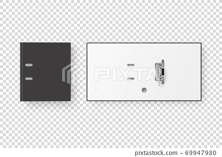Vector 3d Closed and Opened Realistic Black Blank Office Binder Set with Metal Rings for A4 Paper Sheet Closeup Isolated on Transparent Background. Design Template, Mockup, Top View 69947980