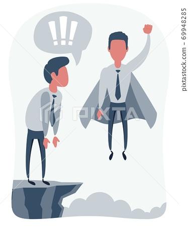 Confident superhero businessman rising up. 69948285