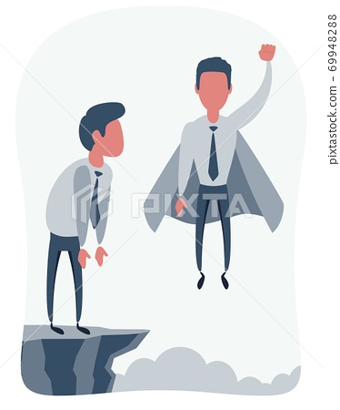 Confident superhero businessman rising up. 69948288
