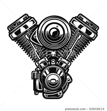 Motorcycle engine illustration on white background. 69948614