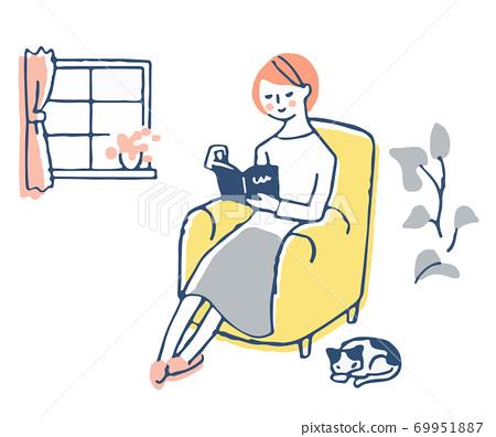 소파에 앉아 책을 읽고있는 여성 69951887