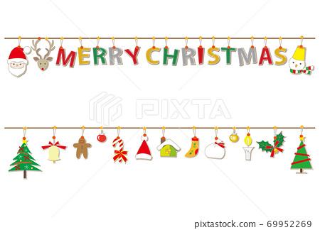 聖誕材料貼花風格人物聖誕快樂花環 69952269