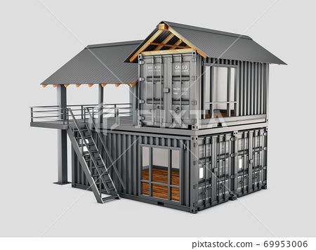 3d Rendering of Converted old shipping container into house, isolated gray, clipping path included 69953006