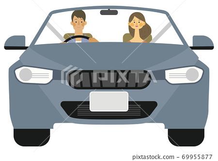 年輕人和婦女在驅動器上微笑的插圖 69955877