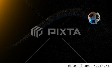 足球和橙色和藍色背景下的細顆粒 69958963