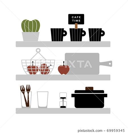 廚房架子和存儲的插圖 69959345