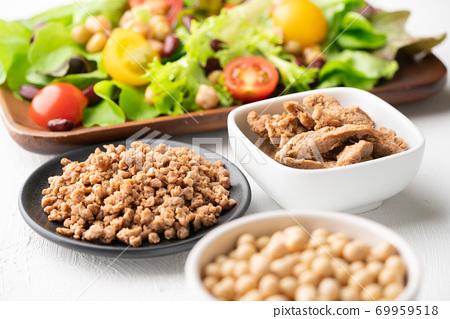 大豆肉(魚片和碎肉)和生蔬菜 69959518