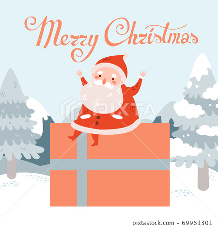 Merry christmas vector with Santa Claus sit in big present in winter landscape 69961301