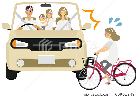 汽車和兒童自行車之間的事故插圖 69961848