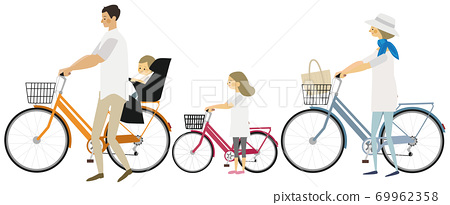 家庭騎自行車的插圖 69962358
