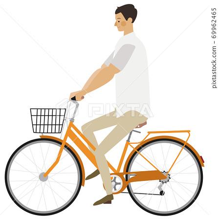자전거를 눌러 남성의 일러스트 69962465