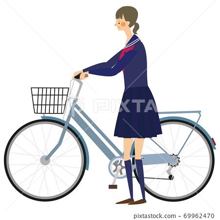 一名女學生,推著一輛自行車的插圖 69962470